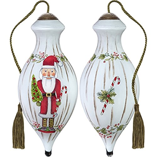 Ne'Qwa Art Hand Painted Blown Glass Nutcracker Santa Ornament, Multicolor