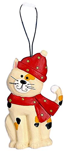 Blossom Bucket Christmas Calico Cat Wearing a Red Hat & Scarf Resin Ornament #3