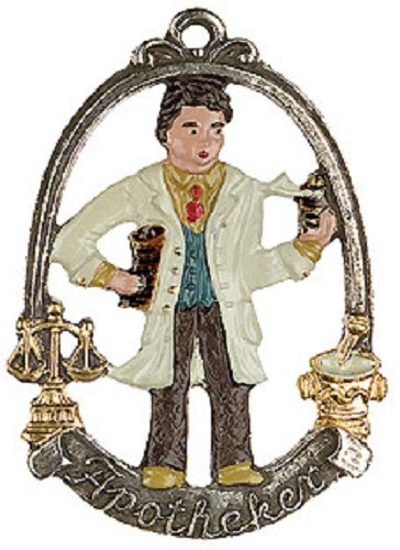 Pinnacle Peak Trading Company Pharmacist Male German Pewter Christmas Tree Ornament Apotheker Decoration