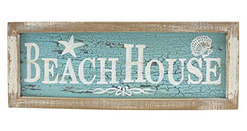 Beachcombers Framed Beach House Painted Wood Wall Plaque 15 Inch Distressed Blue and White