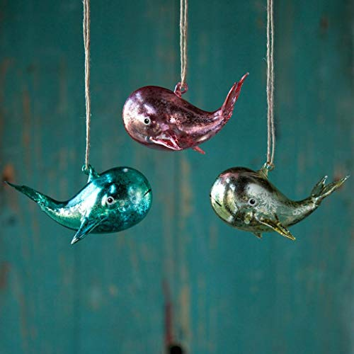 180 Degrees Mercury Glass Pastel Color Whale Christmas Tree Ornaments Set of 3