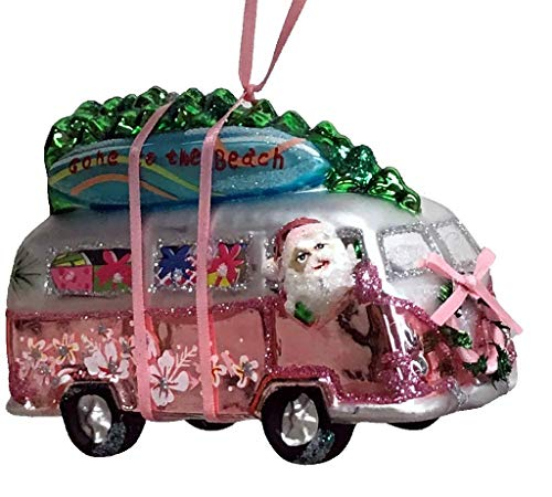 One Hundred 80 Degrees Blown Glass Beach Van with Surfboards Hanging Ornament TT0853 5 Inches (Pink)