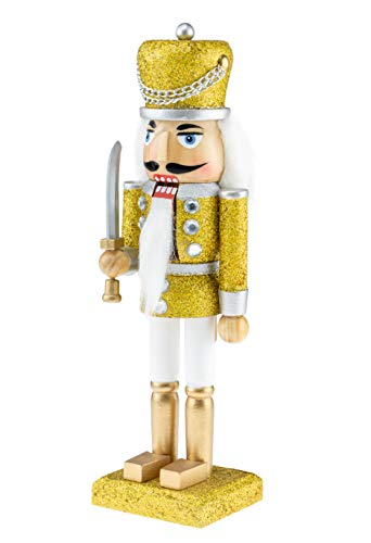 Clever Creations Wooden Glittery Soldier Nutcracker | Gold and Silver Uniform Holding Sword | Festive Traditional Christmas Decor | Great for Any Holiday Collection | 10″ Tall Perfect for Shelves