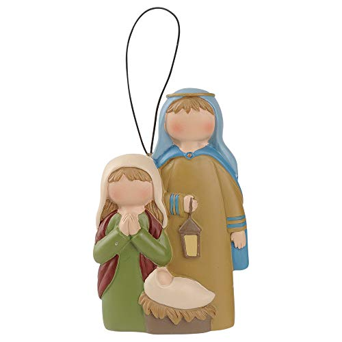 Blossom Bucket Holy Family with Lantern 3 x 3 Inch Resin Stone Christmas Ornament
