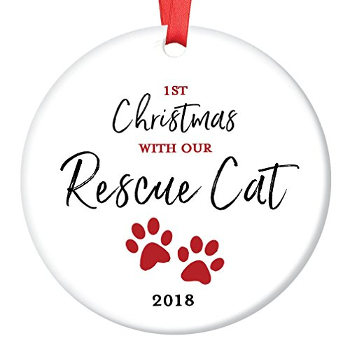Rescue Cat Ornament 2018 Pet Adoption Holiday Tree First Year 1st Christmas New Forever Home Kitty Kitten Adopted Ceramic Collectible Present 3″ Flat Porcelain Keepsake with Red Ribbon & Free Gift Box