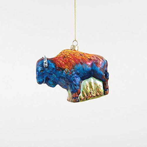 180 Degrees Colorful Bison Buffalo Glass Ornament New