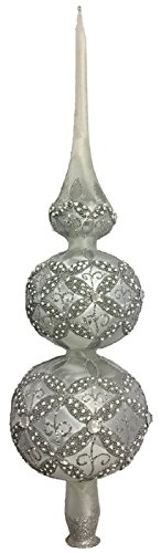 Pinnacle Peak Trading Company Frosted Silver and White Jeweled Polish Glass Christmas Tree Topper Made Poland