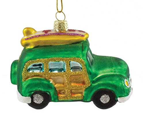 Beachcomber Blown Glass Woody with Surfboard Ornament 20332 3.8 Inches x 2.75 Inches Green