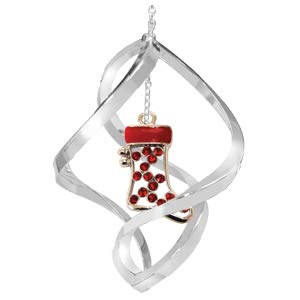 Crystal Delight by Mascot Chrome Christmas Stocking Spiral Ornament – Red