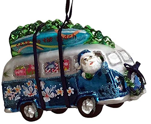 One Hundred 80 Degrees Blown Glass Beach Van with Surfboards Hanging Ornament TT0853 5 Inches (Blue)