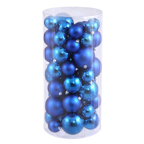 Vickerman Shiny and Matte Finishes, Shatterproof Christmas Ball Ornaments, 50 per Box, 1.5″ x 2″, Blue
