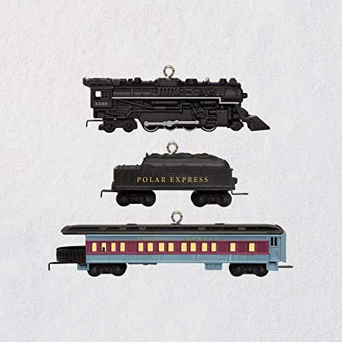 Hallmark Keepsake Mini Christmas Ornament 2018 Year Dated, Lionel The Polar Express Miniature, Set of 3, Train