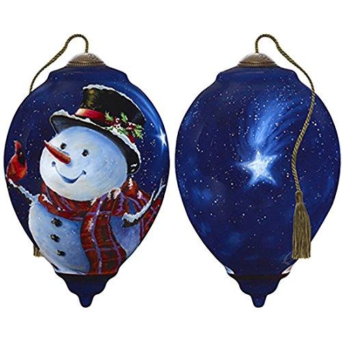Ne'Qwa Art Hand Painted Blown Glass Magic of Christmas Snowman Ornament