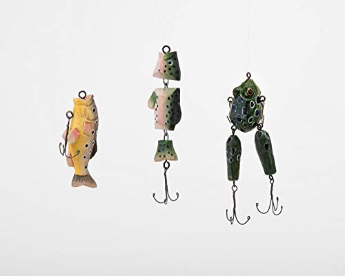 180 Degrees Fish and Frog Lure Handcarved Wood Christmas Tree Ornament Set of 3