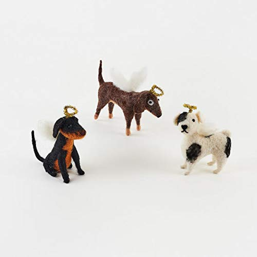180 Degrees Dog Angel Ornaments Set of 3 with Angel Wings and Halos So Cute