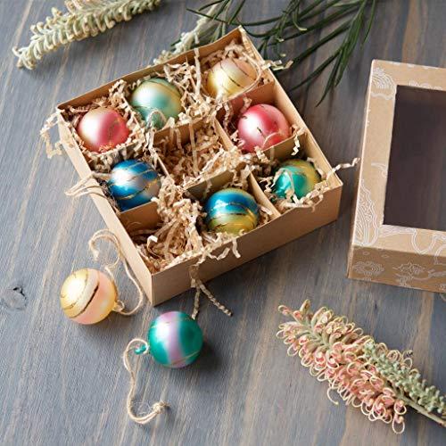 180 Degrees Pastel Glass Retro 1.5″ Christmas Tree Sunset Ball Tree Ornaments, Box Set of 9