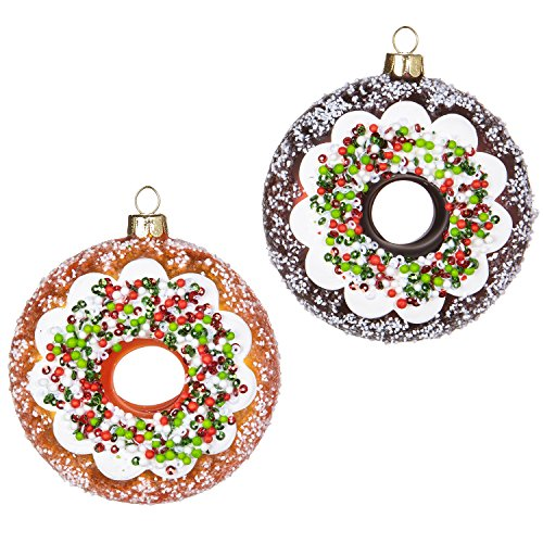 RAZ Imports Donut Glass Ornaments Set of 2, Faux Cake Doughnuts with Icing and Sprinkles, 3.5″ Each, 2018 Santa's Diner Christmas Holiday Collection
