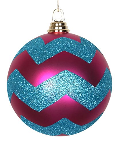Vickerman Cerise Pink Matte w/ Turquoise Blue Glitter Chevron Commercial Size Christmas Ball Ornament 6″(150mm)