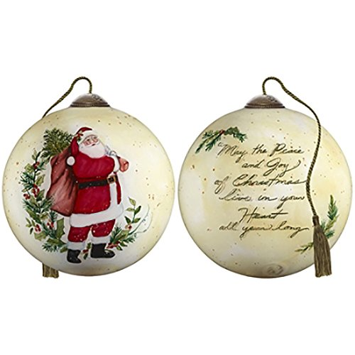 Ne'Qwa Art Hand Painted Blown Glass Peace and Joy of Christmas Ornament, Multicolor