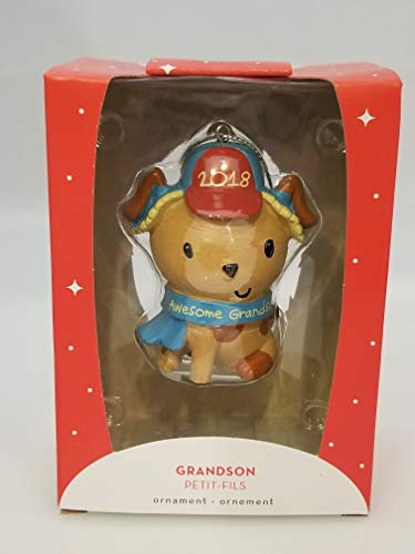 Carlton Heirlom Ornament 2018 Grandson – Awesome Grandson Puppy Dog – #CXOR021O