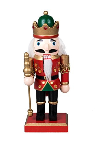 Traditional Royal King Chubby Nutcracker by Clever Creations | Holding Scepter | Green and Gold Crown | Festive Christmas Decor | 8″ Tall Perfect for Shelves and Tables | Collectible Wooden Nutcracker