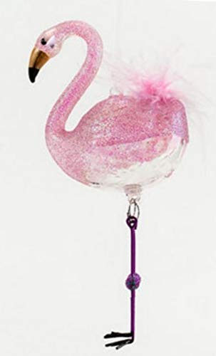 180 Degrees Set of Two Glass and Feathers Christmas Holiday Flamingo Ornaments