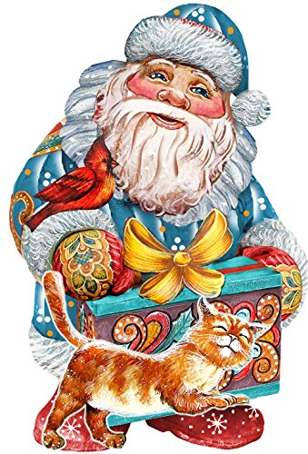 G. Debrekht Curious Kitty Santa Deco Ornament