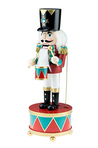 "Clever Creations Classic Drummer Nutcracker Music Box Blue and Red Drum and Stand | 12"" Tall Festive Collectible Nutcracker 