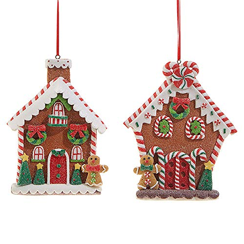 RAZ Imports SET OF 2 Raz 5″ Flat Claydough Gingerbread House Christmas Ornament 3815535