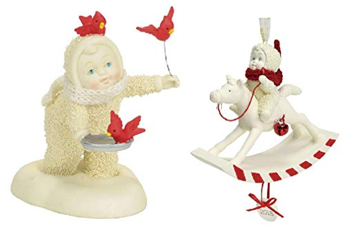 DHE Department 56 Snowbabies Bundle with in Flight Meal Figurine and 2018 Peppermint Pony Ornament