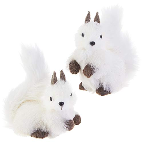 RAZ Imports White Winter Woodland Squirrel Ornaments – Set of 2 Assorted