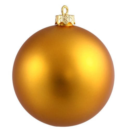 Vickerman Matte Finish Seamless Shatterproof Christmas Ball Ornament, UV Resistant with Drilled Cap, 6 per Bag, 4″, Antique Gold