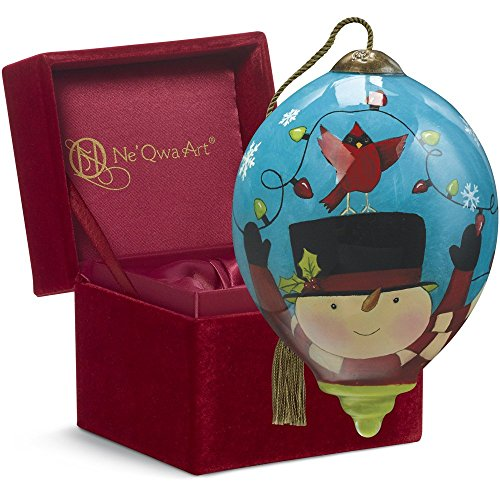 "Ne'Qwa Art,, Frosty's Excited for Christmas"" Artist Susan Winget, Petite Princess-Shaped Glass Ornament, 7161134"