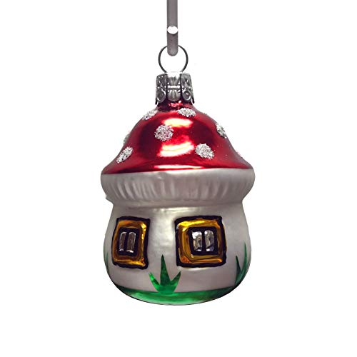Pinnacle Peak Trading Company Mushroom House Czech Glass Christmas Tree Ornament Garden Gnome Decoration
