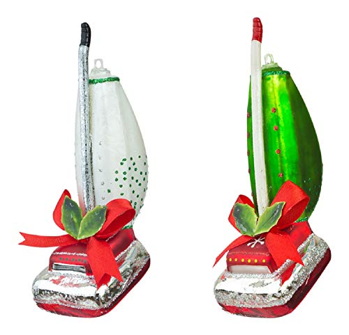 One Hundred 80 Degrees Red and Green Upright Vacuum Cleaners Christmas Holiday Ornaments Set of 2