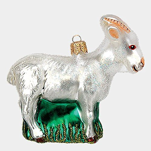 Pinnacle Peak Trading Company White Goat Polish Mouth Blown Glass Christmas Ornament Animal Decoration