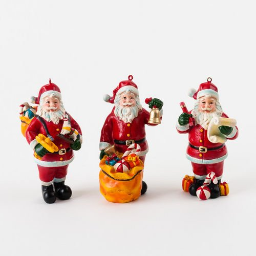 SANTA CLAUS with Toys Ornaments Set of 3 Christmas fd00