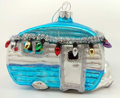 One Hundred 80 Degrees 3 Retro Vintage Airstream -Style Glass RV Camper Trailer Ornament with Christmas Lights, Garland & Glitter (Blue)