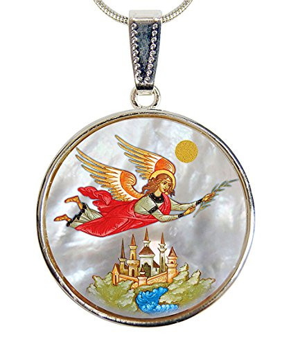 G. Debrekht Angel Watching Over Silver-Plated Mother-of-Pearl Cabochon Round Pendant with Chain Figurine, 18″