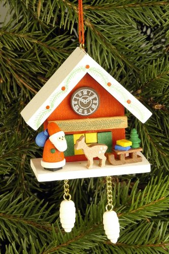 Tree ornaments Tree ornament Cuckoo Clock red with Niko – 6,7 x 6,3cm / 2.6 x 2.5inch – Christian Ulbricht