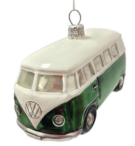 Pinnacle Peak Trading Company Volkswagen Bus Car Polish Glass Christmas Ornament VW Automobile Decoration