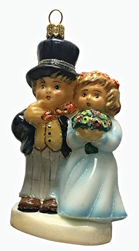 Pinnacle Peak Trading Company M.I. Hummel Dearly Beloved Wedding Couple Polish Glass Christmas Ornament