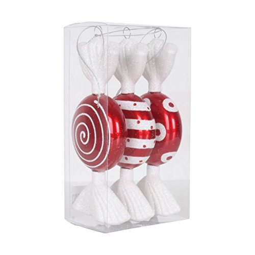 Vickerman 377208 – 7″ Red / White Flat Candy Glitter Assorted Christmas Tree Ornament (3 pack) (M152503)