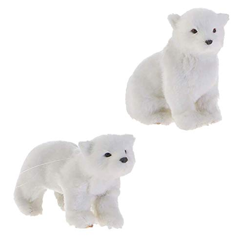 RAZ Imports Polar Bear Figurine/Christmas Ornaments — Set of 2 Faux Fur Ornaments