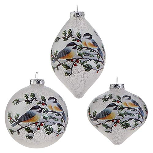 RAZ Imports Glass Chickadee Christmas Ornaments — Set of 3 Bird on Snow Covered Berry Branch Ornaments