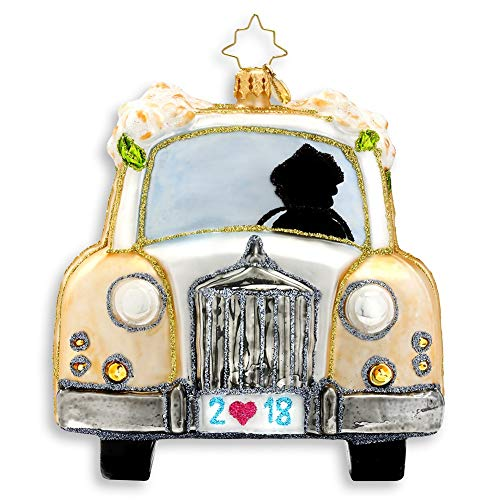 Christopher Radko Just Married 2018 Dated Wedding Car Christmas Ornament – Exclusive