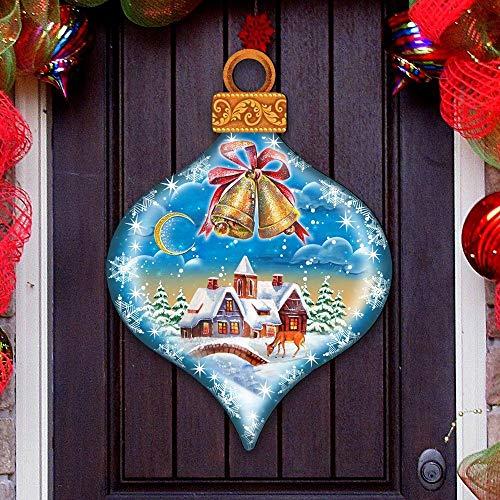 G.DeBrekht Jingle bells Door Hanger – Jingle Bells Ornament Wooden Decorative Christmas Door Hanger/Wall Decor #8112182H