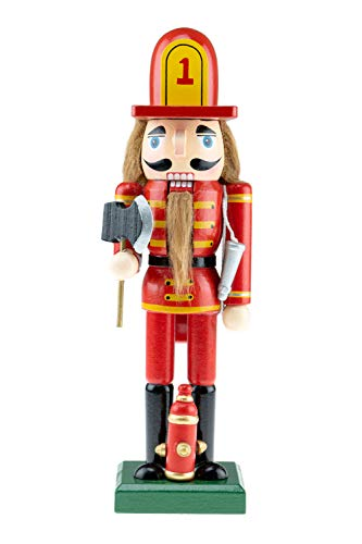 Clever Creations Wooden Fireman Nutcracker | Red and Yellow Uniform Holding Axe | Festive Traditional Christmas Decor | Great for Any Holiday Collection | 10″ Tall Perfect for Shelves and Tables