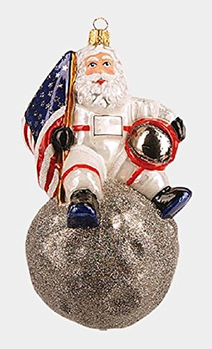 Pinnacle Peak Trading Company Astronaut Santa Claus Sitting on the Moon Polish Glass Christmas Ornament Space