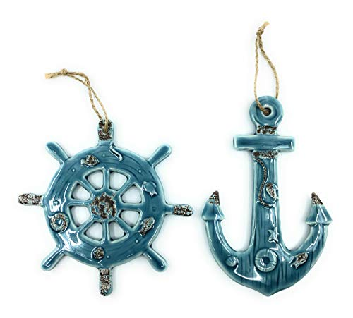 Beachcombers Large Nautical Anchor Captains Wheel Hanging Ornaments, Set of 2
